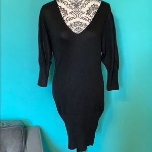 Bebe Shimmer V Neck Stretch Sweater Dress L